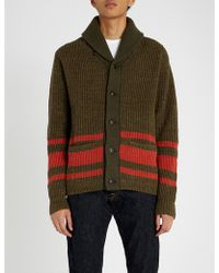 RRL - Striped Cotton And Wool-blend Cardigan - Lyst