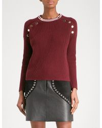 Maje | Mariano Button-detailed Ribbed Cotton-blend Jumper | Lyst