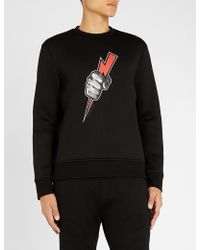 Neil Barrett - Lightning Bolt-print Neoprene Sweatshirt - Lyst