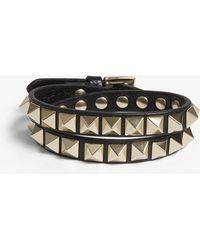 Valentino - Rockstud Leather Double Bracelet - Lyst