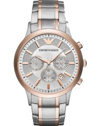 Emporio Armani - Ar11077 Chronograph Stainless Steel Rose Gold-tone Quartz Watch - Lyst