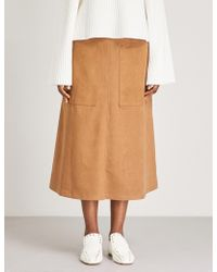 Vilshenko - Carrie High-rise Faux-suede Midi Skirt - Lyst