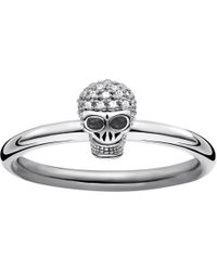 Thomas Sabo - Diamond Pav Skull Ring Band - Lyst