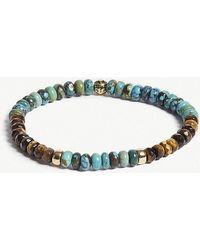 Nialaya - Tiger Eye And Turquoise Bead Bracelet - Lyst