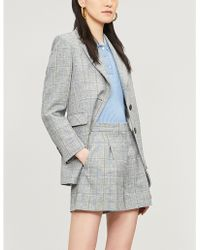 Sandro - Checked High-rise Linen-blend Shorts - Lyst