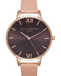 Olivia Burton - Ob15bd72 Big Dial Stainless Steel And Leather Watch - Lyst