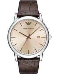 Emporio Armani - Ar11096 Luigi Stainless Steel And Leather Strap Quartz Watch - Lyst
