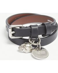 Alexander McQueen - Skull Double-wrap Leather Bracelet - Lyst