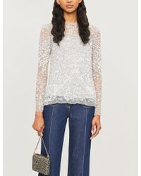 Needle & Thread - Aurora Floral-embroidery Tulle Top - Lyst