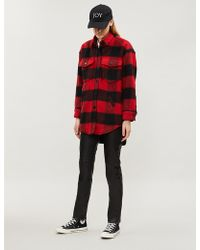 The Kooples - Checked Wool-blend Coat - Lyst