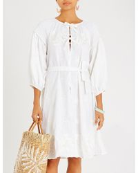 Innika Choo - Floral-embroidered Linen Dress - Lyst