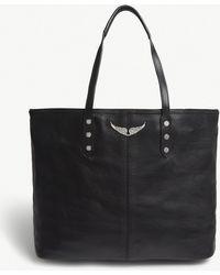 Zadig & Voltaire - Noir Black Mick Leather Tote Bag - Lyst