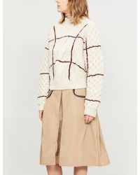 Toga - Windowpane-pattern Cable-knit Wool-blend Cardigan - Lyst