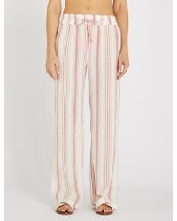 Melissa Odabash - Krissy Striped Cotton Trousers - Lyst