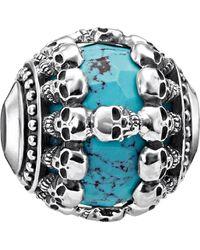Thomas Sabo - Skulls Turquoise Sterling Silver Karma Bead - Lyst
