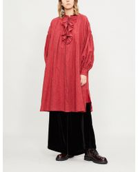 Renli Su - Ruffle-neck Cotton-linen Dress - Lyst
