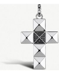Thomas Sabo - Pyramid Studded Cross Sterling Silver And Zirconia Pendant - Lyst