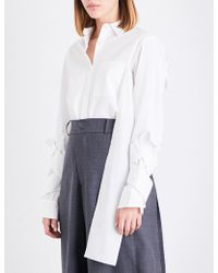 Moohong - Twisted Strap-sleeve Cotton Shirt - Lyst