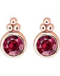 Thomas Sabo - Royalty Red Stone 18k Rose-gold Plated Sterling Silver Ear Studs - Lyst