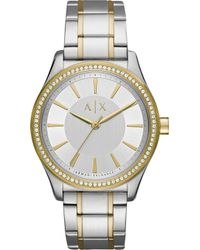 Armani Exchange - Ax5444 Crystal-embellished Stainless Steel And Gold Watch - Lyst