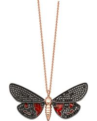 Astley Clarke Scarlet Tiger Moth necklace - Black