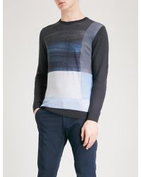 Armani - Block-pattern Wool Jumper - Lyst