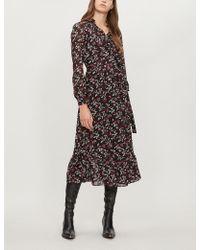 MICHAEL Michael Kors - Ruffled Floral-print Georgette Midi Wrap Dress - Lyst