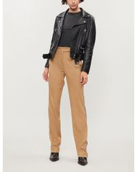 Pinko - Ermanno Side-stripe High-rise Straight Stretch-wool Trousers - Lyst