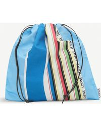 Loewe Large Drawstring Pouch Stripes - Blue