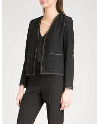 St. John - Chain-trim Bouclé-knit Jacket - Lyst