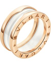 BVLGARI | B.zero1 Two-band 18kt Pink-gold And Ceramic Ring | Lyst