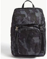 Prada - Navy Blue Camouflage Backpack - Lyst