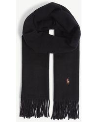 Polo Ralph Lauren - Embroidered Logo Tasselled Wool Scarf - Lyst