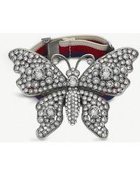 Gucci - Butterfly Crystal Embellished Webbing Bracelet - Lyst