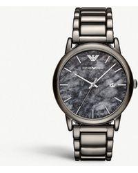Emporio Armani - Gunmetal Stainless Steel Bracelet Watch 43mm - Lyst