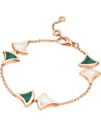 BVLGARI - Divas' Dream 18kt Pink-gold Malachite And Mother Of Pearl Bracelet - Lyst