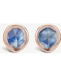 Monica Vinader - Siren Mini 18ct Rose-gold Vermeil And Kyanite Stud Earrings - Lyst
