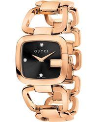 Gucci - Stainless Steel Black Quartz Watch - Lyst