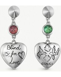 f280d1c14ad Gucci - Blind For Love Sterling Silver And Multi-coloured Zirconia Earrings  - Lyst