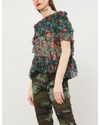 The Kooples - Floral-print Silk-georgette Top - Lyst