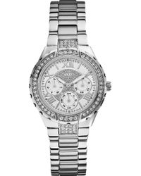 Guess - W0111l1 Viva Silver-toned Stainless Steel Watch - Lyst