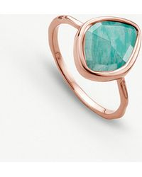 Monica Vinader - Siren 18ct Rose Gold-plated And Amazonite nugget Stacking Ring - Lyst