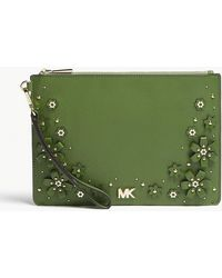 MICHAEL Michael Kors - Floral Embellished Leather Zipped Pouch - Lyst