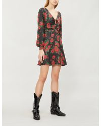 Free People - Morning Light Floral-pattern Crepe Mini Dress - Lyst