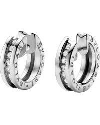 BVLGARI - B.zero1 18kt White-gold And Diamond Earrings - Lyst