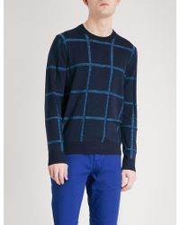 PS by Paul Smith - Checked Wool And Cotton-blend Jumper - Lyst