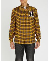 Tommy Hilfiger - Logo-flocked Checked Slim-fit Cotton-blend Shirt - Lyst
