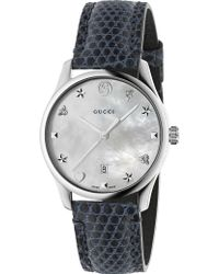 Gucci - Ya1264049 G-timeless Mother-of-pearl And Lizard-leather Strap Quartz Watch - Lyst