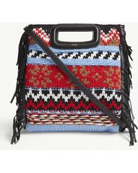 Maje - Mini M Leather And Knitted Bag - Lyst