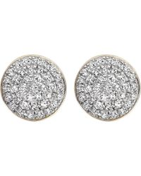 Monica Vinader - Ava 18ct Gold-plated And Diamond Button Stud Earrings - Lyst